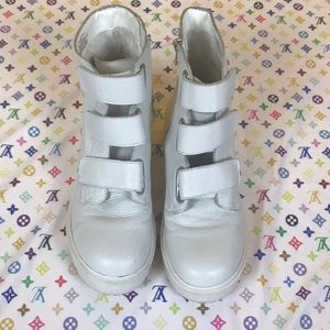Steve Madden Shoes - White leather Velcro strap combat boots